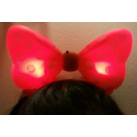 LWS LA Wholesale Store  1 LIGHT UP MINNIE MICKEY MOUSE BOWS POLKA DOTS HEADBANDS FAVOR PARTY EARS (Red) & 1 Free miniature figures