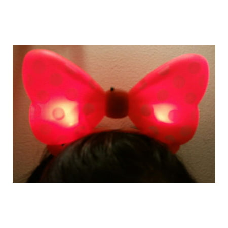 LWS LA Wholesale Store  1 LIGHT UP MINNIE MICKEY MOUSE BOWS POLKA DOTS HEADBANDS FAVOR PARTY EARS (Red) & 1 Free miniature figures](Minnie Mouse Ears Party City)