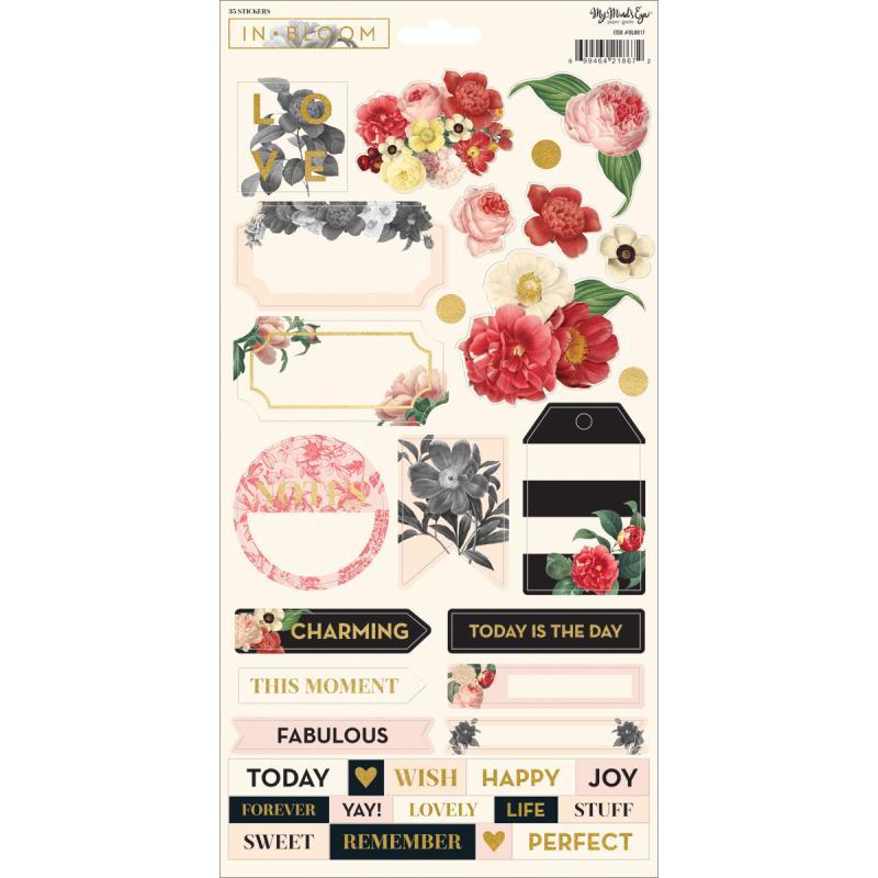 "In Bloom Stickers 6""x12""-w/gold Foil"