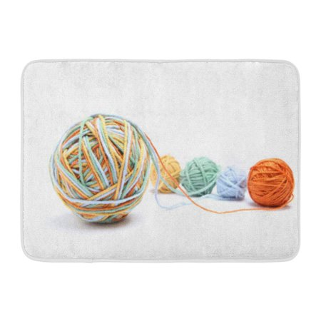 GODPOK Abstract Colorful Big Thread Ball from Four Color Cotton White Different Orange Yellow Green Blue Mix Rug Doormat Bath Mat 23.6x15.7 (Green Color Mix)