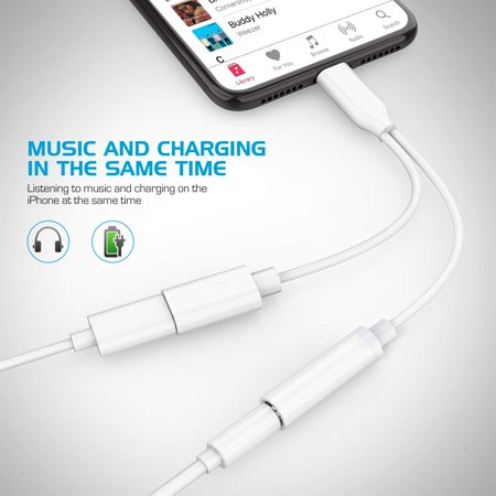 Headphone Adapter for iPhone 3.5mm Jack Headset Car Charge 2 in 1 Converter Connector Cable Headset Adaptor Splitter Dongle Aux Audio Compatible with iPhone 7/8 Plus/X/XS XR Max,