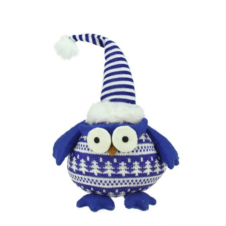 Northlight Seasonal Chubby Plaid Owl with Striped Hat and Winter Sweater Table Top Christmas Figure