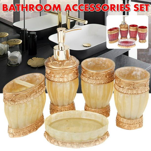 Creative Scents Marquee Bath Ensemble 5 Piece Bathroom Accessories Set Marquee Collection Bath Set Features Soap Dispenser Toothbrush Holder Tumbler Soap Dish Gold Pink Walmart Com Walmart Com