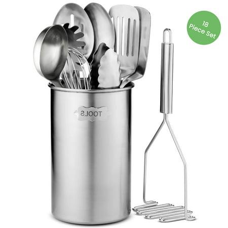 Stainless Steel Kitchen Utensil Set - 10 piece premium Non-Stick & Heat Resistant Kitchen Gadgets, Turner, Spaghetti Server, Ladle, Whisk, Tungs Serving, Spoons, Potato Masher and Utensil Holder Gadgets Measuring Spoon Set