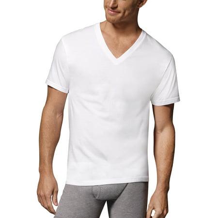 12 Pack of Men's ComfortSoft White Tagless V-Neck Shirts Only $16