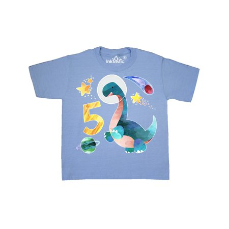 5th Birthday Dinosaur Astronaut with Stars and Planet Youth T-Shirt