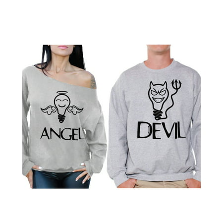 Awkward Styles Couple Sweatshirts Angel and Devil Funny Matching Couple Sweaters Angel Off the Shoulder Sweatshirt for Women Devil Sweater for Men Valentines Day Boyfriend Gifts Girlfriend Gifts