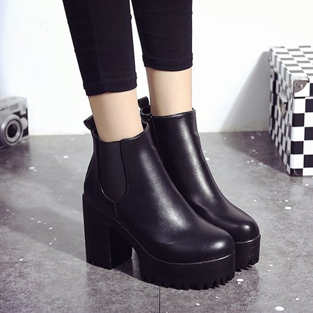ae35df5075 Women Boots Square Heel Platforms Leather Thigh High Pump Boots Shoes BK 37  - Walmart.com
