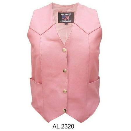 - Ladies XS Size Pink basic plain vest in Cowhide Leather 2 front 2 inside pockets