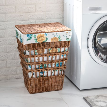 The Pioneer Woman Rose Shadow Maize Laundry Hamper