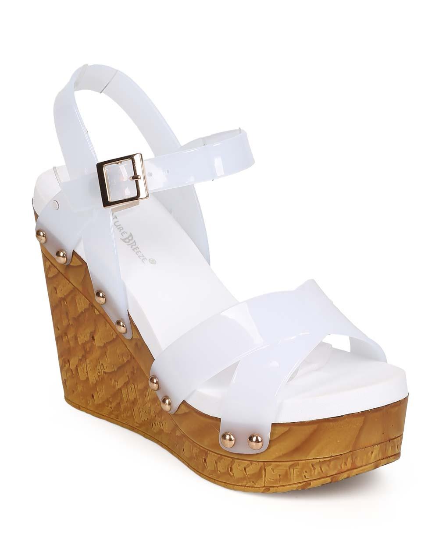 Women Jelly Peep Toe Studded Criss Cross Clog Wedge Sandal ED50