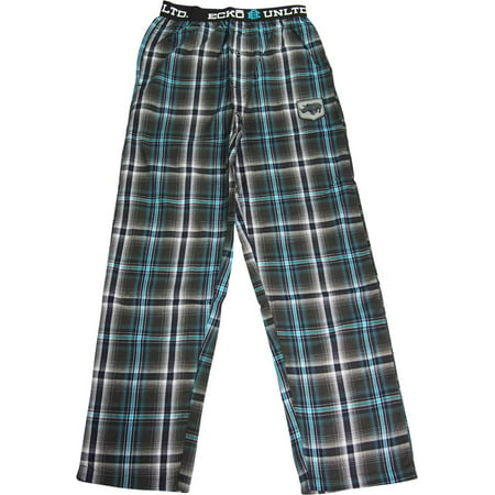 Ecko UNLTD Mens Woven Cotton Blend Lounge Sleep Pajama Pant - Runs 1 Size Small, 40732 Aqua Green & Black Plaid / Small