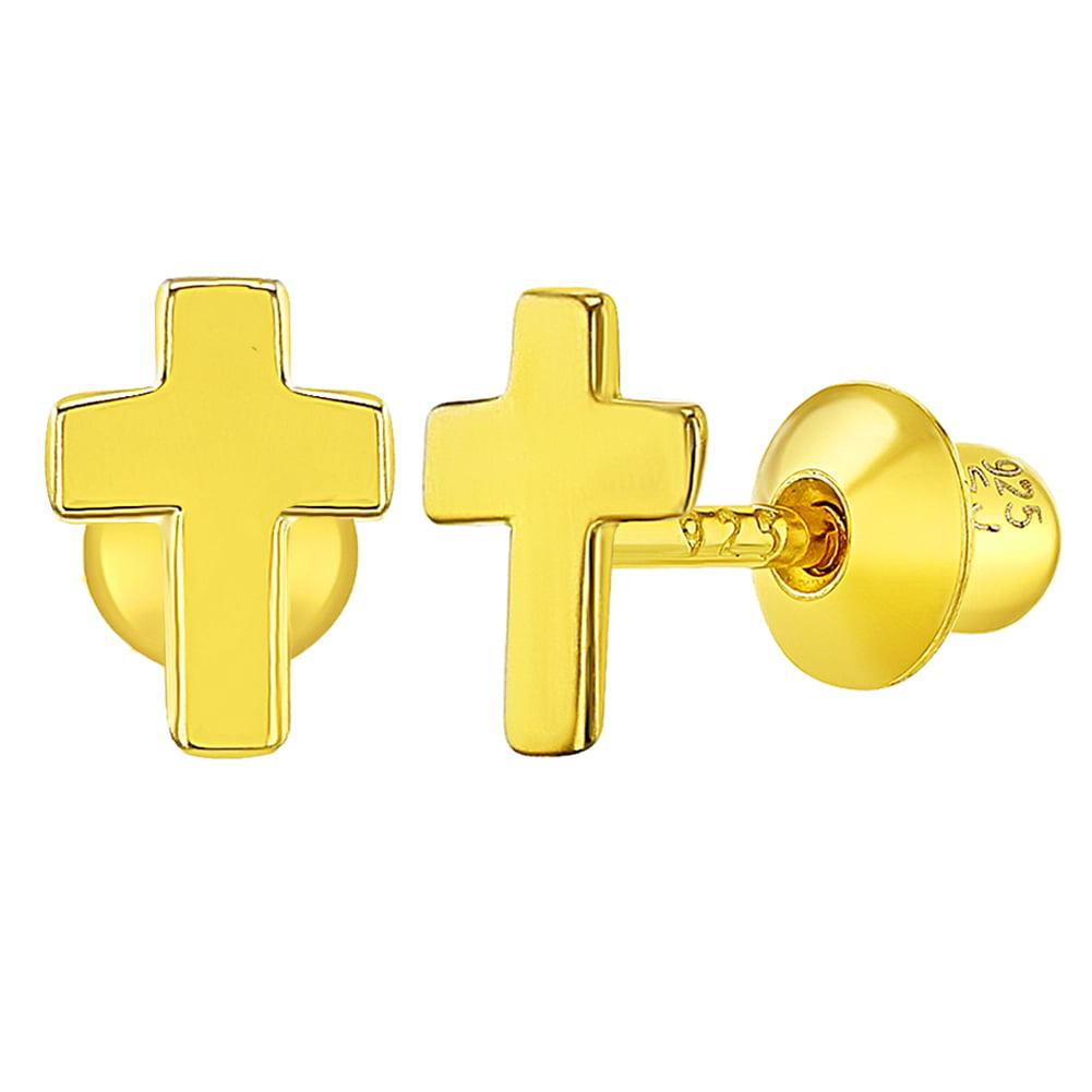 925 Sterling Silver Small Religious Heart Cross Screw Back Earrings for Girls