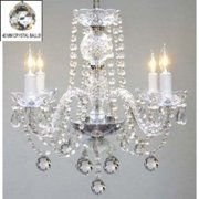 Gallery T40-128 Murano Venetian 4 Light 1 Tier Crystal Candle Style Chandelier W - Clear