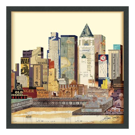 Empire Art Direct Empire Art 'New York City Skyline' Hand Made Signed Art Collage by EAD Artists Co-op under Tempered Glass in Black -