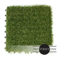 """3rd Street Inn Artificial Grass Tiles - Artificial Turf - Fake Grass Interlocking Patio Tiles - 12""""x12"""" (9 Pack) Standard Grade Grass - Natural Feel Synthetic Grass"""