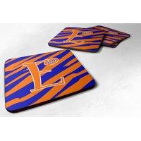 Set of 4 Monogram - Tiger Stripe Blue and Orange Foam Coasters Initial Letter E