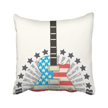 ARTJIA Black Roll Stamp Born To Be Rock Star Guitar America Man Drawing Singer Acoustic Band Pillowcase Throw Pillow Cover Case 18x18