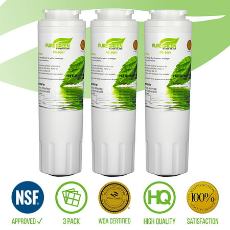 PURE GREEN UKF8001 Refrigerator Water Filter, Compatible with Maytag UKF8001AXX-750, UKF8001AXX-200, Whirlpool 4396395, 469006, Filter 4, PUR, Puriclean II, EDR4RXD1, Pack of