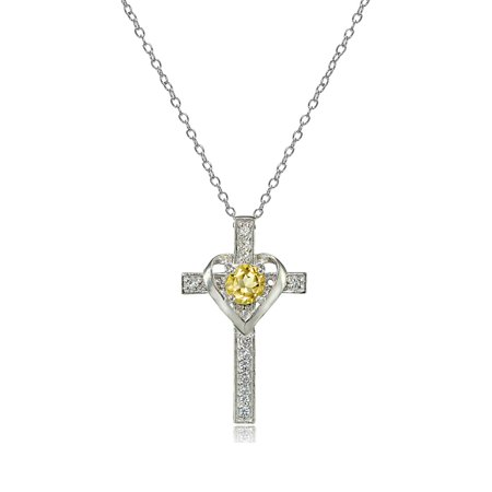 Sterling Silver Citrine & White Topaz Heart in Cross Necklace