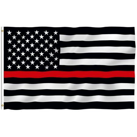 ANLEY [Fly Breeze] 3x5 Feet Thin Red Line Flag - Vivid Color and UV Fade Resistant - Canvas Header and Brass Grommets - Honoring Firefighter Banner Flags](Banner Flag)