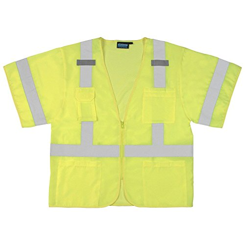 ERB 61617 S852 Class 3 Safety Vest with Sleeves, Lime, 5X-Large