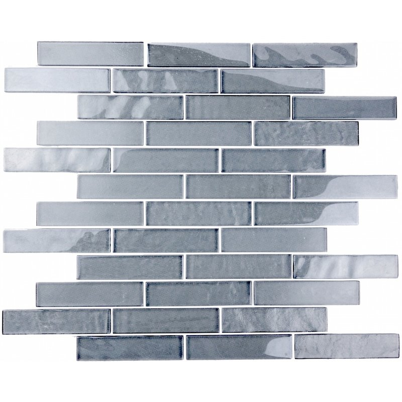 "Abolos- Landscape 1"" x 4"" Glass Mosaic Kitchen, Bathroom Backsplash Tile in Blue Gray (12sqft, 12pc Box)"
