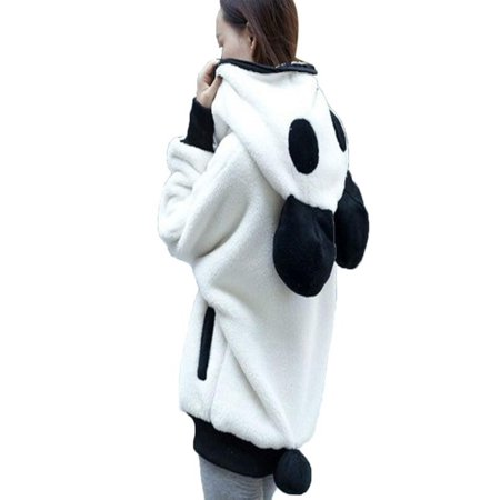 cute bear ear panda winter warm hoodie coat women hooded. Black Bedroom Furniture Sets. Home Design Ideas