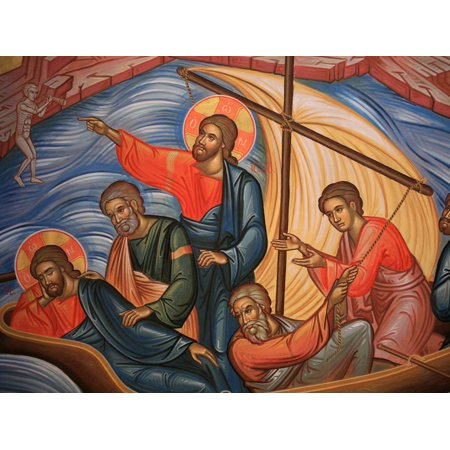 Greek Orthodox Icon Depicting Jesus and His Apostles on Lake Tiberias, Macedonia, Greece Print Wall Art By Godong