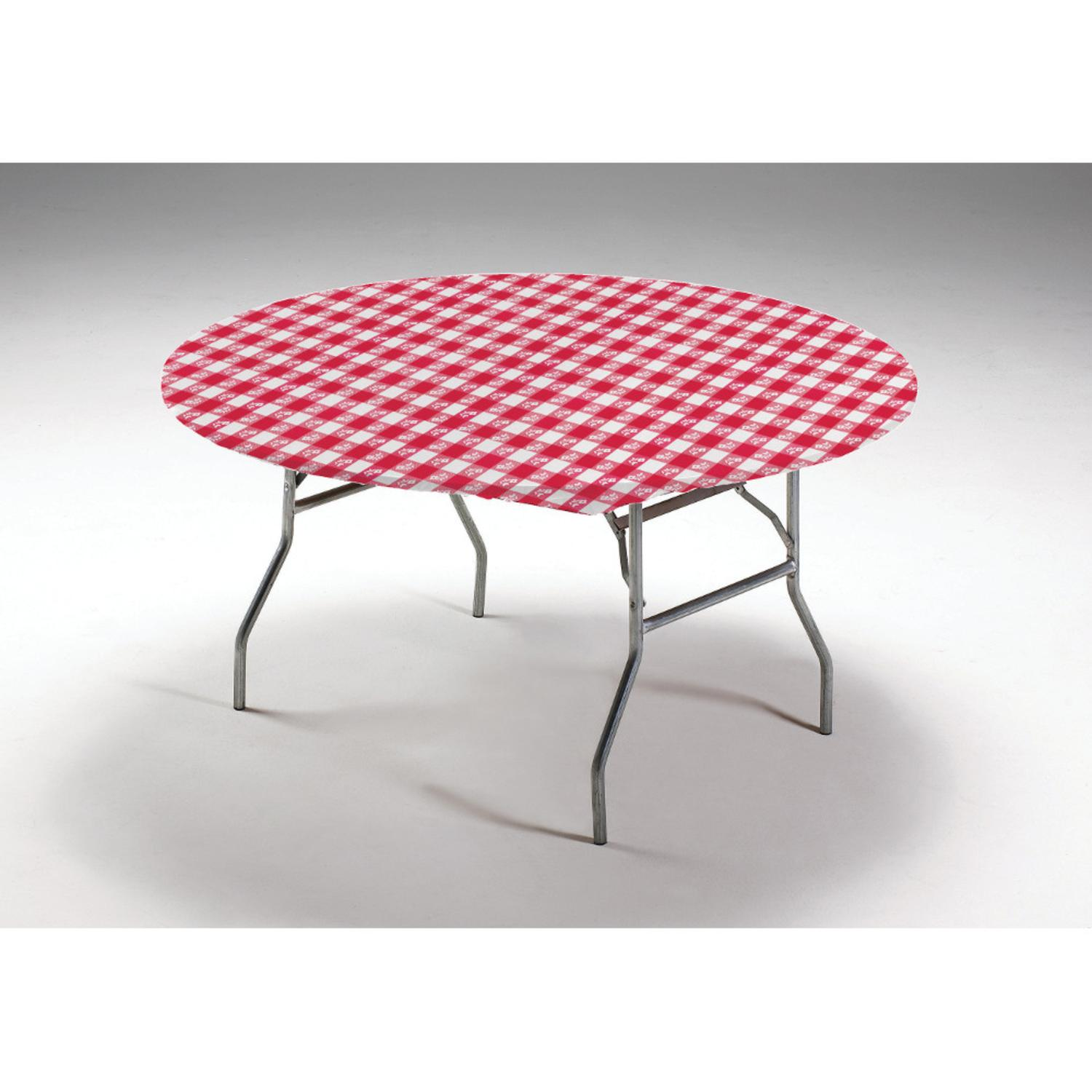 Club Pack of 12 Red and White Gingham Disposable Round Plastic Banquet Party Table Covers 60