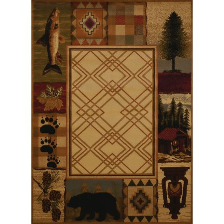 United Weavers Affinity Area Rugs - 750-05117 Southwestern Lodge Natural Bass Bears Paws Prints Rug