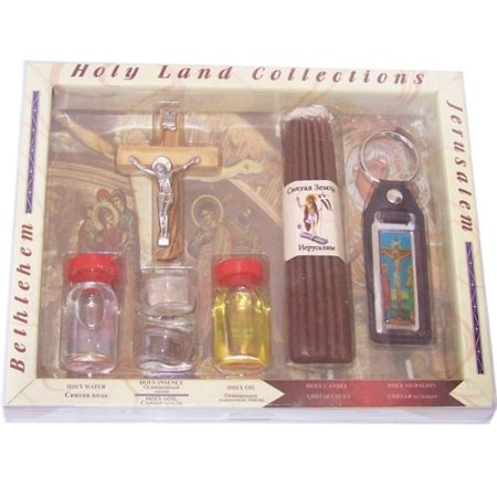 Large Religious Samples set - Top Quality with certificate, Olive wood Crucifix, 33 Candles and a Keys ring (8.5 inches