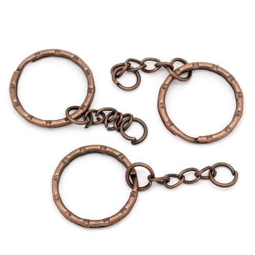 30 1 Inch Key Chains & Key Rings Antique Copper 5.3cm 30pcs