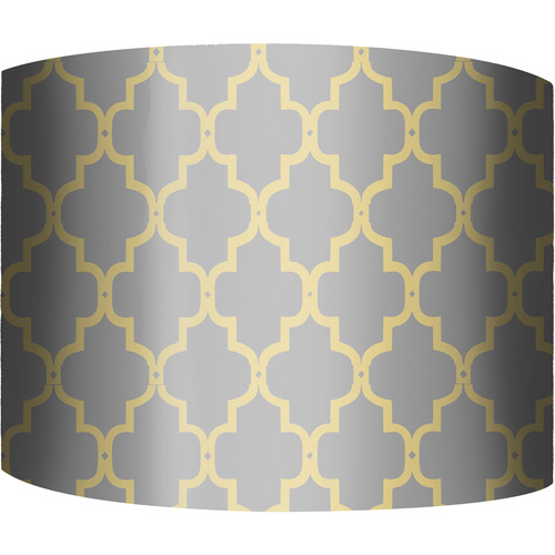 "12"" Drum Lamp Shade, Fence Yellow and Gray"