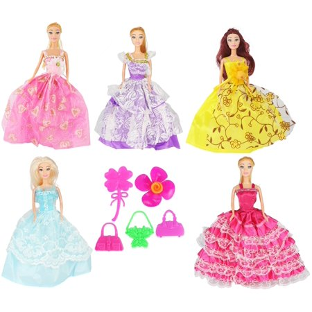 5 PCS Set of Modern Style Trendy Fashion Diva Super Model Dolls, Doll Set of Friends, Fashionable Sisters! (Trendy Doll)