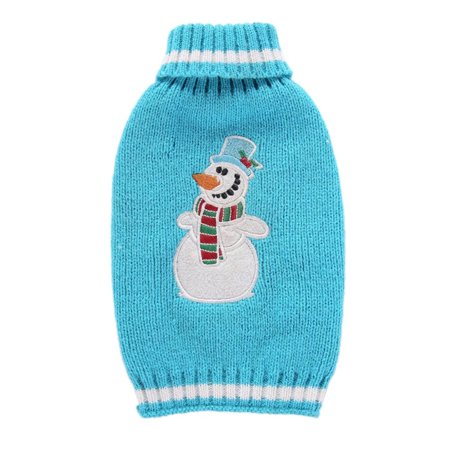 Mosunx Christmas Blue Snowman Embroidered Pet Dog Cute Clothes Puppy Winter Sweater - Pet Christmas Clothes