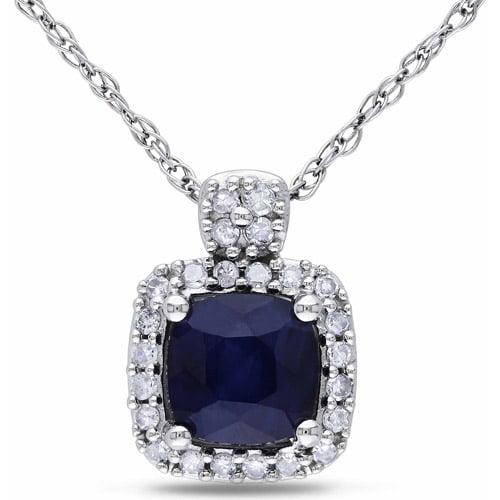 3/4 Carat T.G.W. Cushion-Cut Blue Sapphire and 1/10 Carat T.W. Diamond 10kt White Gold Halo Pendant, 17