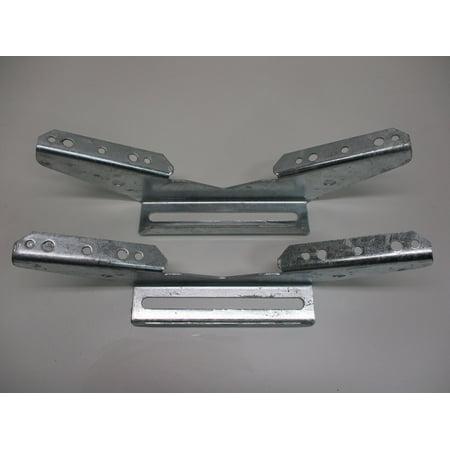 (2) V Wing Pontoon Boat Trailer Bunk Bolster Brackets  / Adjustable Galvanized