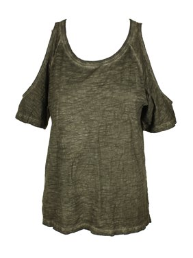 0cf71b42312d4 Product Image SANCTUARY Womens Green Cold Shoulder Heather Short Sleeve  Scoop Neck Tunic Top Size  XS