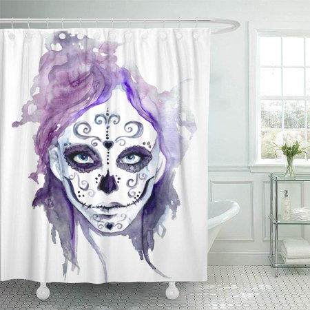 PKNMT Woman Zombie Girls Head Sugar Skull Face Paint Watercolor Scary Lady Gothic Tattoo Shower Curtain Bath Curtain 66x72 inch](Sugar Skull Face Paint Meaning)