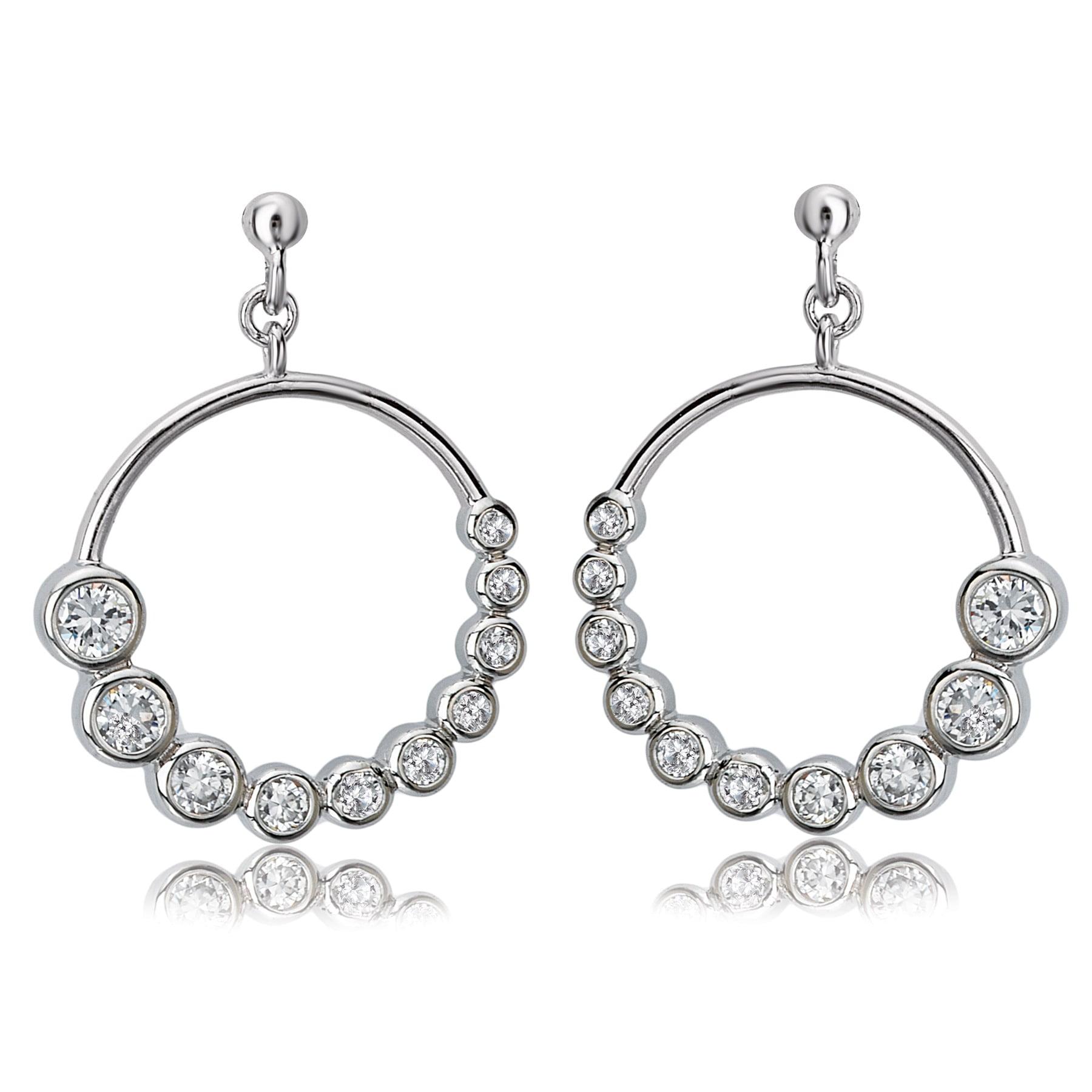 Avanti Sterling Silver Cubic Zirconia Journey Style Circular Dangle Earrings by Overstock