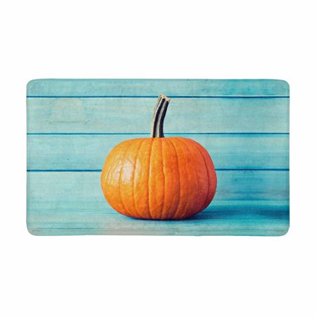 MKHERT Halloween Decoration Pumpkin Over Turquoise Colored Wood Doormat Rug Home Decor Floor Mat Bath Mat 30x18 inch - Bat Decor For Halloween