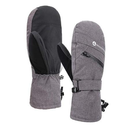 Women's C-100 Thinsulate Lining Gloves SKi Mittens w/ Zip Pocket,Grey