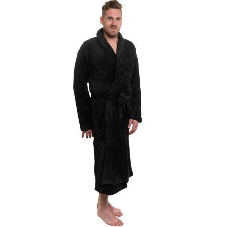 Ross Michaels Mens Black Plush Shawl Collar Kimono Bath Robe (Black, XXXL)
