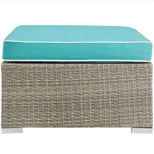 Highland Dunes Heinrich Outdoor Upholstered Fabric Patio Ottoman with Cushion