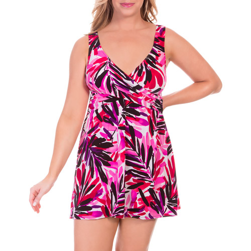 Suddenly Slim by Catalina Women's Plus-Size Slimming Crossover Swim dress