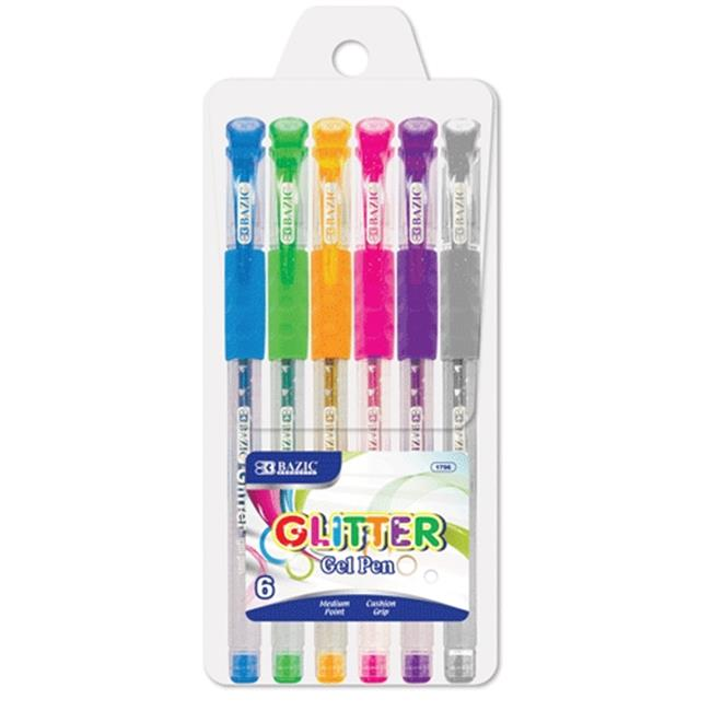 Bazic Products 1796-144 BAZIC 6 Glitter Color Gel Pen with Cushion Grip Case of 144