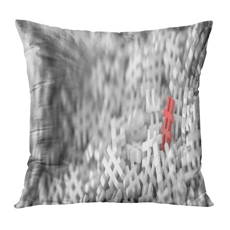 ECCOT Red Hash Infinite Hashtags on Plane Original 3D Rendering One Distinct and Out from The Crowd Tag Best Pillow Case Pillow Cover 20x20