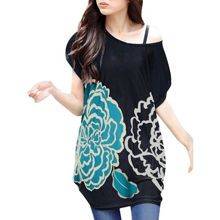 Unique Bargains Women's Printed Dolman Sleeve Loose Tunic