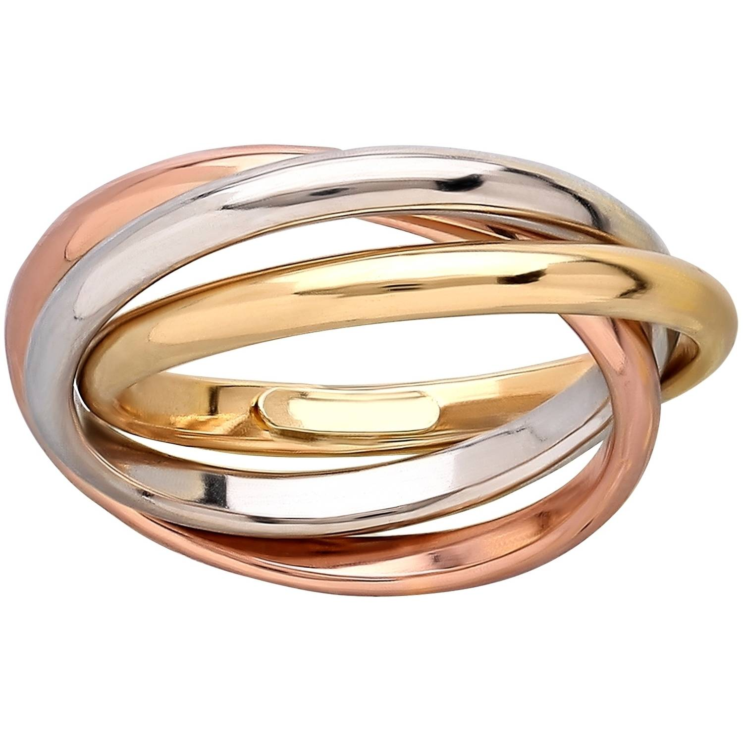 Simply Gold 10kt Yellow, Pink and White Gold Triple Rolling Size 7 Ring